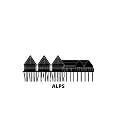 Germany alps prehistoric pile dwellings flat vector