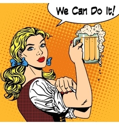 Girl waitress with beer says we can do it vector