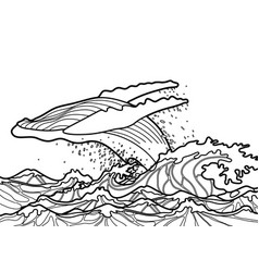 graphic humpback whale jumps out of water vector image