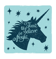 Grunge vintage card with inspiring unicorn vector