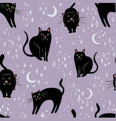Halloween pattern with black cats on soft vector