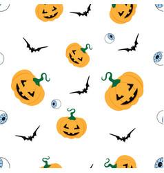halloween pattern with pumpkins vector image