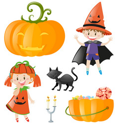 halloween theme with kids and pumpkin vector image