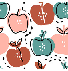 Hand drawn doodle apples seamless pattern vector
