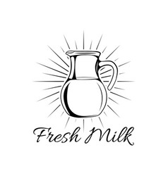 hand drawn milk jug isolated vector image