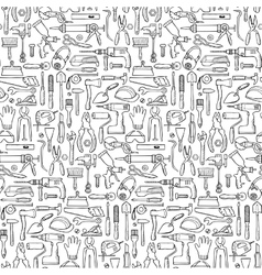 Hand drawn seamless pattern with repair tools vector image