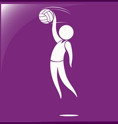 Handball icon on purple background vector image