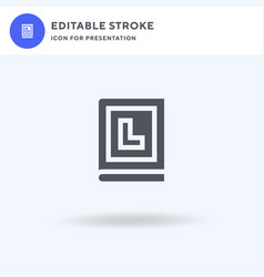 Handbook icon filled flat sign solid vector
