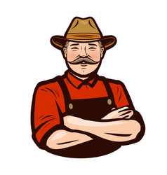 happy adult farmer in overalls agriculture farm vector image
