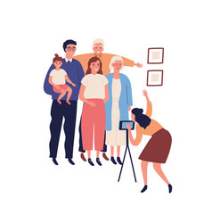 Happy big family making photo portrait on vector
