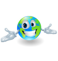 happy cute globe character vector image vector image