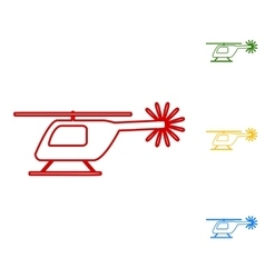 Helicopter sign Set of line icons vector image