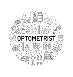 icons outline style ophthalmology vector image