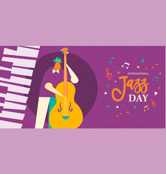 International jazz day poster of live bass player vector