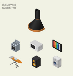 Isometric electronics set of microwave television vector