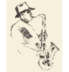 Jazz poster saxophone music acoustic consept vector image