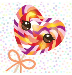 Kawaii colorful candy lollipop with bow spiral vector