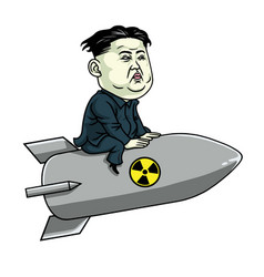 Kim jong un on nuclear rocket weapon cartoon vector