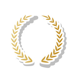 laurel wreath sign golden gradient icon vector image