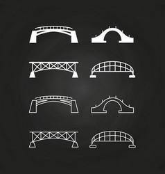 line and outline bridges design on chalkboard vector image