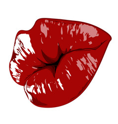 Lips hand drawn highly details graphic red vector