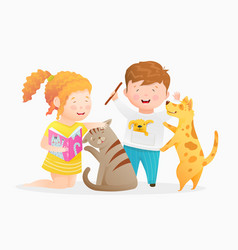 little girl holding a book reading to cat boy vector image