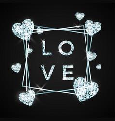 Love design in brilliant stone diamond heart vector