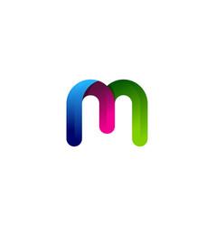 M colorful letter logo icon design vector