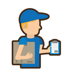 man delivery boxes clipboard vector image