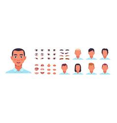 man face kit male avatar constructor kit vector image