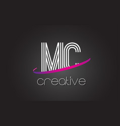 Mc m c letter logo with lines design and purple vector