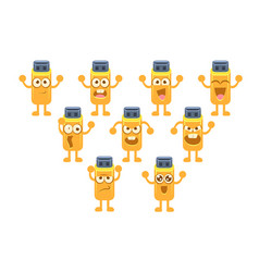 Memory card character set usb stick with vector