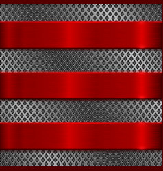 Metal perforated texture with red steel stripes vector