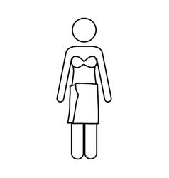 monochrome contour pictogram of woman in bikini vector image