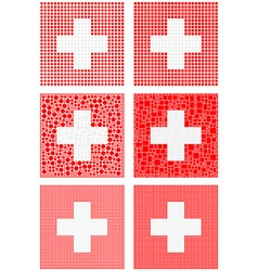 Mosaic Switzerland flag set vector