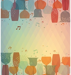 Musical Cocktail glass colorful background vector image