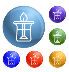 oil candle icons set vector image