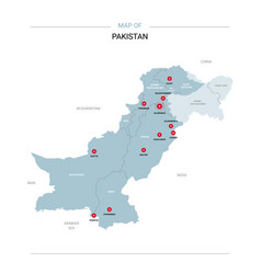 Pakistan map with red pin vector
