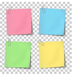 Paper mockup color notes attached metallic vector