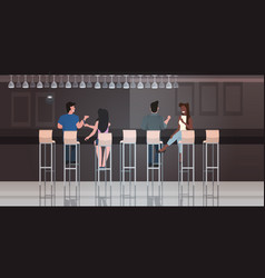 people sitting on stools at bar counter desk mix vector image