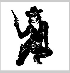 Pin up girl sexy cowgirl vector