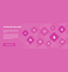 Problem solving banner 10 icons conceptanalysis vector
