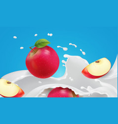 red apple falling into the yogurt splash vector image