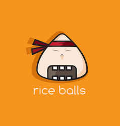 Rice balls ninja mascot cartoon vector