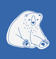 sad cute adult polar bear hand drawn with contour vector image