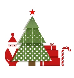 Santa Christmas Tree Presents and a Candy vector