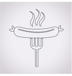 sausage grilled with fork icon vector image