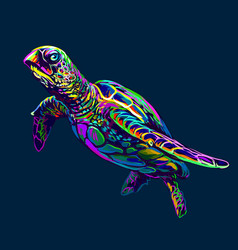 sea turtle abstract artistic neon drawing vector image