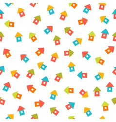 Seamless background with cute little houses vector image