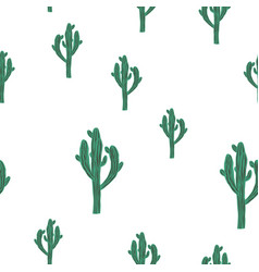 Seamless cactus pattern with green saguaro vector